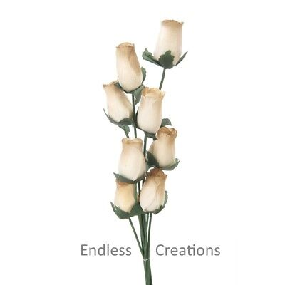 80 Brown & Cream Wooden Roses  (Colour No.28) - More Colours In Shop • 14.49£