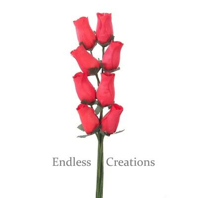 50 Red (Colour No.1) Wooden Roses - Wedding Flowers - More Colours In Shop • 12.99£