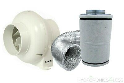 4  In Line Fan Carbon Filter & Duct Kit Hydroponic Grow Room Tent Ventilation • 47.99£