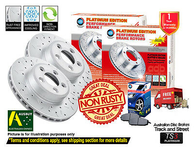 AU162 • Buy FOR MITSUBISHI Pajero NH NJ NK NL FRONT SLOTTED DRILLED Disc Rotors (2) & Pads