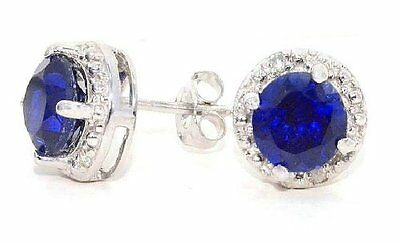 $49.99 • Buy 2 Carat Blue Sapphire & Diamond Round Stud Earrings 14Kt White Gold