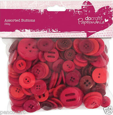 £2.49 • Buy Papermania 250 Gram Bumper Bag Assorted Buttons Red Coloured Shades