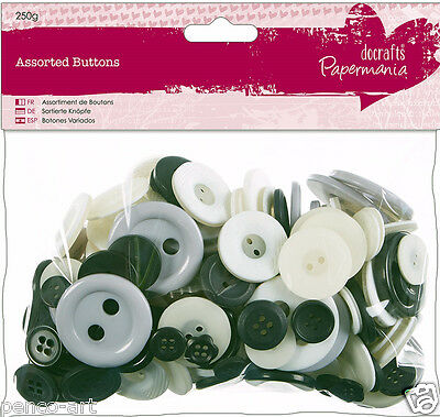 £2.49 • Buy Papermania 250 Gram Bumper Bag Assorted Buttons Black & White MONOCHROME Shades
