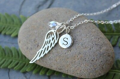 Sterling Silver Angel Wing, Initial Monogram & Birthstone Crystal Necklace  • 46.31£