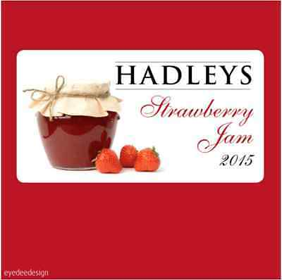 Jam Jar Pot Stickers Labels Homemade Preserves Personalised Strawberry - N363 • 1.55£