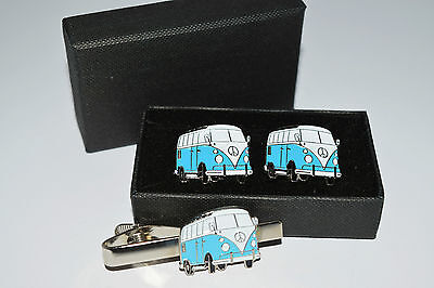 £13.99 • Buy Pale Blue Camper Van Cufflinks And Tie Clip Set. Gift Boxed Wedding Enamel Men's