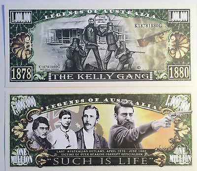 AU4.95 • Buy RARE:  KELLY GANG  Ned Kelly $1,000,000 Novelty Note, M/Cave. Buy 5 Get 1 FREE