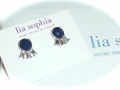 $ CDN23.34 • Buy Nwt - Lia Sophia  Lash Out  Earrings - Navy/clear Cut Crystals - 2014/$34