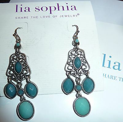 $ CDN28.53 • Buy Nwt - Lia Sophia  St Tropez  Chandelier Earrings - Blue/silver - 2011/$42