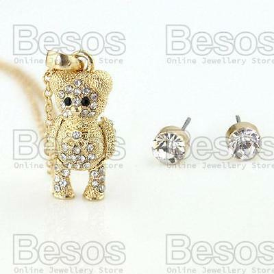 £5.99 • Buy ARTICULATED TEDDY BEAR Pendant NECKLACE Chain GOLD FASHION SET Crystal UK GIFT
