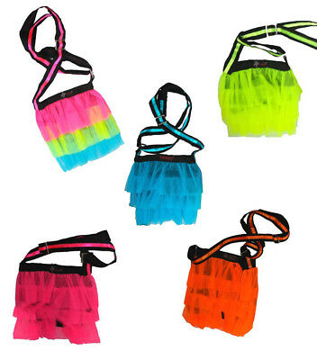 Neon Uv Multi, Pink, Orange, Blue Tutu Net Shoulder Bags Clubbing Cyber Rave  • 9.99£