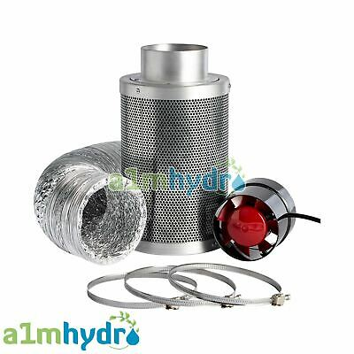 Rhino Hobby Carbon Filter Kit Odour Extraction Fan Aluminium Ducting Hydroponics • 54.99£