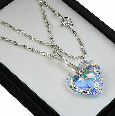 £12.99 • Buy 925 Sterling Silver Necklace Crystal AB 18mm Heart Crystals From Swarovski®