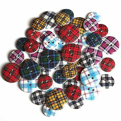 £4.89 • Buy 40 Scottish Mixed Assorted Tartan Patterned Wooden Buttons Craft Embellishments