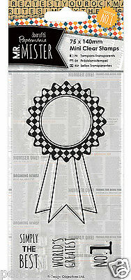 Docrafts Papermania Clear Mini Rubber Stamps Rosette Mr Mister 75x140mm Men Man • 2.99£