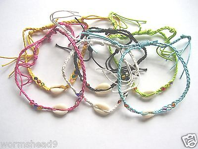 £2.99 • Buy Cowrie Shell Braided Cord Adjustable Plait Anklet Surf Fair Trade Choose Colour
