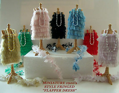 Dolls House Dress: Miniature 1920's Fringed  Flapper  Dress • 16£