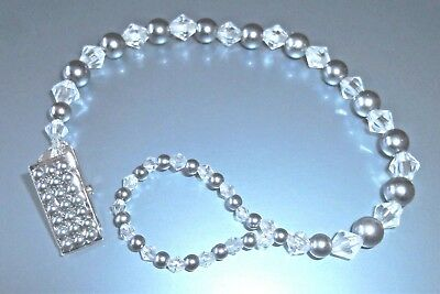£9.82 • Buy Grey Diamonds & Pearls Crystal Bling Baby Dummy Holder Clip Chain Gift Romany