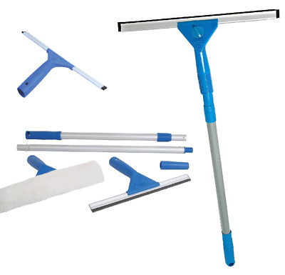 TELESCOPIC Window Cleaning Washing Kit Washer Wash Pole Large Cleaner Squeegees • 9.75£