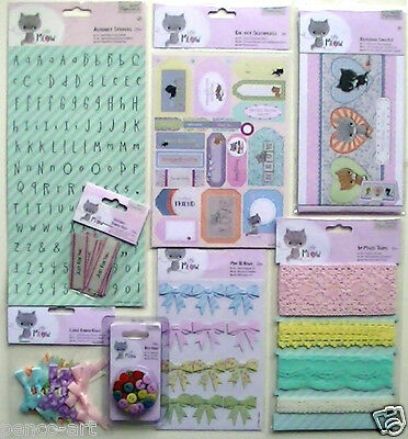 £1.99 • Buy Papermania LITTLE MEOW CAT Embellishments Stickers Notelet Buttons Ribbon Charms