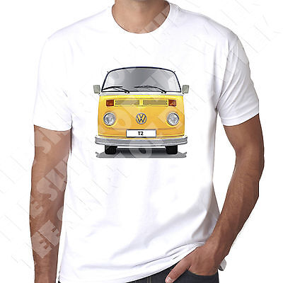Campervan T2 Bay  Choice Of Bus Colour And Personalised Reg Option Mens T-shirt • 11.99£