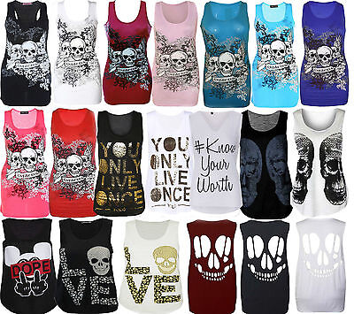 Womens Ladies Graphic Print Sleeveless Vest Tank Top Summer T Shirt Size 8-26 • 2.95£