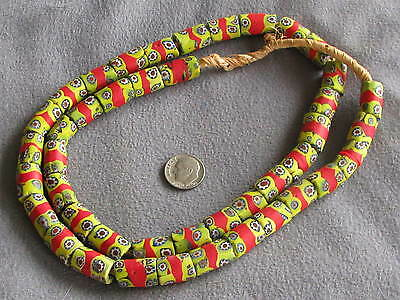 $170 • Buy 27  Str Antique Venetian Millefiori African Trade Beads Yellow Red Blue White