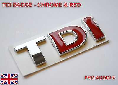 CHROME RED TDI BADGE - Turbo Diesel Car Van Boot Tailgate Emblem - UK Post • 4.49£