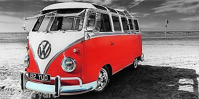 £30 • Buy VW Camper Van Red Canvas Stretched Wall Art Poster Print Surfing Campervan
