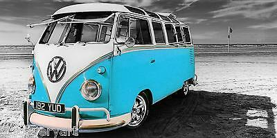 £18 • Buy VW Camper Van Light Blue Canvas Wall Art Poster Print Surfing Campervan
