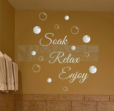 Soak Relax Enjoy Wall Stickers & Bubbles Decals Bathroom Home Art Decor   • 4.99£