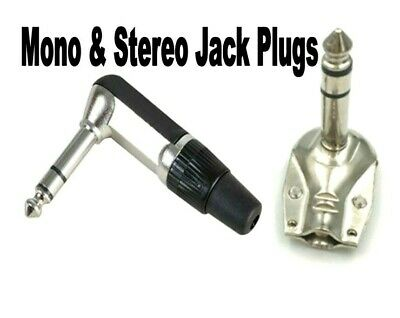 £2.94 • Buy 1/4 Inch Jack Plugs. Right Angle. 6.3mm. Mono, Stereo, Metal Or Plastic..