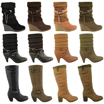 Ladies Womens Mid Calf Knee High Heel Winter Ankle Sock Boots Biker Shoes Size • 22.99£