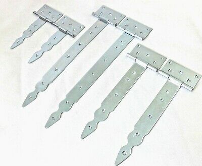 £6.99 • Buy Pair (2pc) Tee Hinges Silver  Decorative  Strap T Door Gate Shed Zinc Galvanized