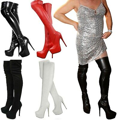 £38.99 • Buy Mens Wide Leg Stretch Over The Knee Thigh High Sexy Stiletto Heel Platform Boots