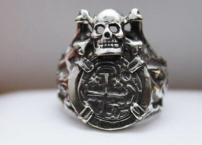 ATOCHA Coin Ring Skull 925 Sterling Silver Sunken Treasure Shipwreck Jewelry • 79$