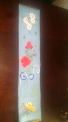 Vntg.Hand Embroidered Stitched Long Hanging Flower Panel Bell Pull & Hanger • 19.34£