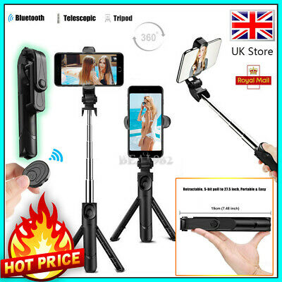 Telescopic Selfie Stick Bluetooth Tripod Monopod Phone Holder For Samsung IPhone • 7.96£