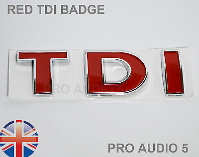 RED TDI BOOT BADGE - TURBO DIESEL - CAR VAN UK Golf Polo Bora Passat T4 MK4 MK5 • 4.29£