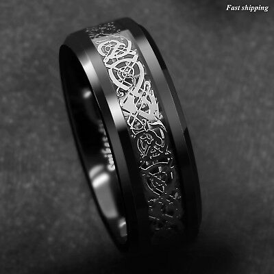$13.89 • Buy 8mm Classic Silver Celtic Dragon Black Tungsten Carbon Ring ATOP Men's Jewelry