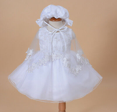 £17.99 • Buy Baby Christening Party Dress Cape Bonnet In White Ivory 0 3 6 12 18 24 Months