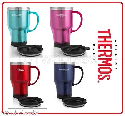 AU17.45 • Buy Thermos Travel Mug 470ml Stainless Steel Insulated Interior TEAL PINK BLUE RED