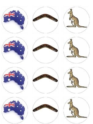 £3.99 • Buy Australian Australia Theme Edible Toppers Wafer Or Icing Cupcake X 12 Decoration