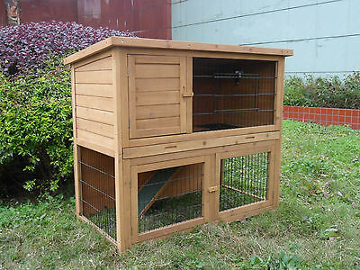 Wooden Double Level Rabbit Guinea Pig Ferret Hutch With Run With Plastic Tray • 154.99£