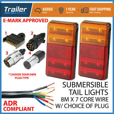 AU44.89 • Buy Pair Of Led Trailer Lights With Plug, 8m X 5 Core Wire Kit Complete Boat Light