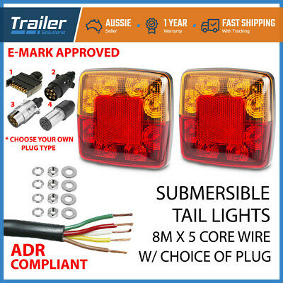 AU38.44 • Buy Pair Square Trailer Lights, 1 X Plug, 8m X 5 Core Wire Kit Rewire Complete Boat