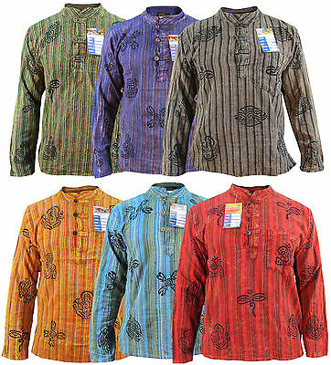 Men's Stonewashed Grandad Om Comfy Casual Long Sleeve Hippie Boho Shirts Tops • 15.99£