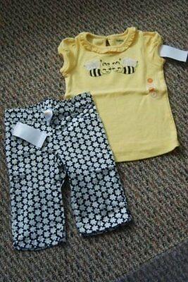 $34.50 • Buy NWT Gymboree Bee Chic Yellow Bee Friends Top~Black Flower Woven Pant 2 2T