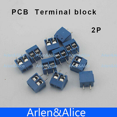 $6.25 • Buy 100 Pcs 2 Pin Screw Blue PCB Terminal Block Connector 5mm Pitch