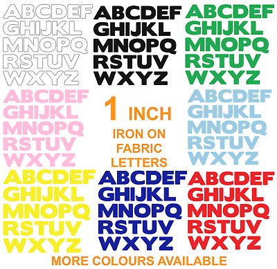 £4.50 • Buy IRON ON FABRIC LETTERS!*NEW* ONE INCH SIZE * Multi Listing -19 Colours! Die Cut!